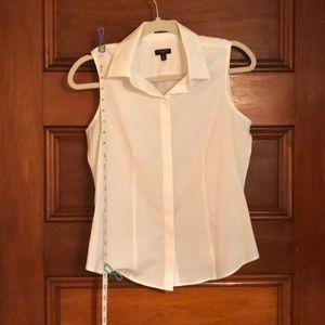 White button-down sleeveless dress shirt